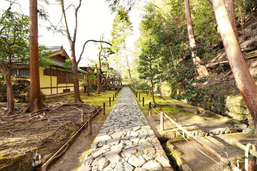 Beautiful stone garden pathway at Honen-in Temple in Kyoto.