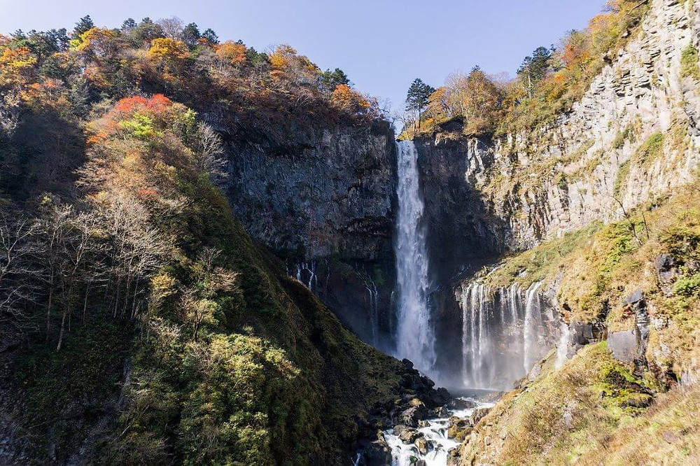 The stunning Kegon Falls during a day trip itinerary from Tokyo to Nikko in Japan