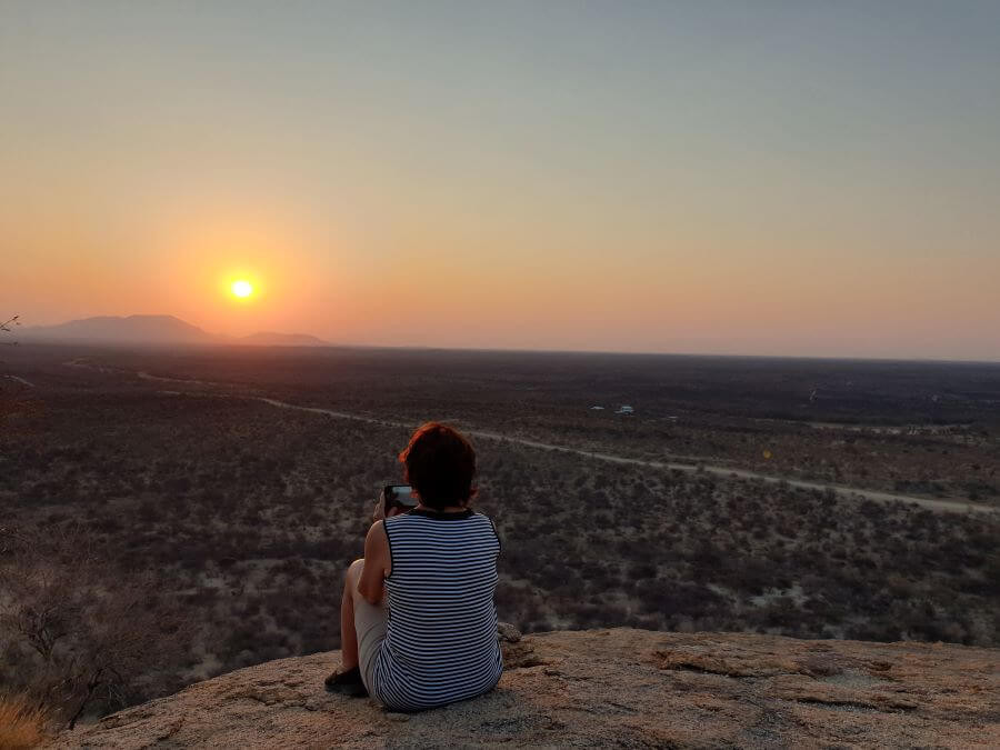 Sunset view at Erongo Wilderness Lodge
