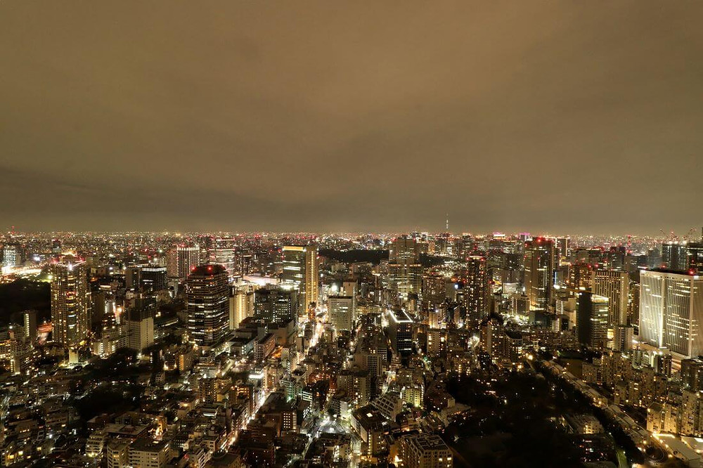 Nighttime skyline view from the Ritz Tokyo