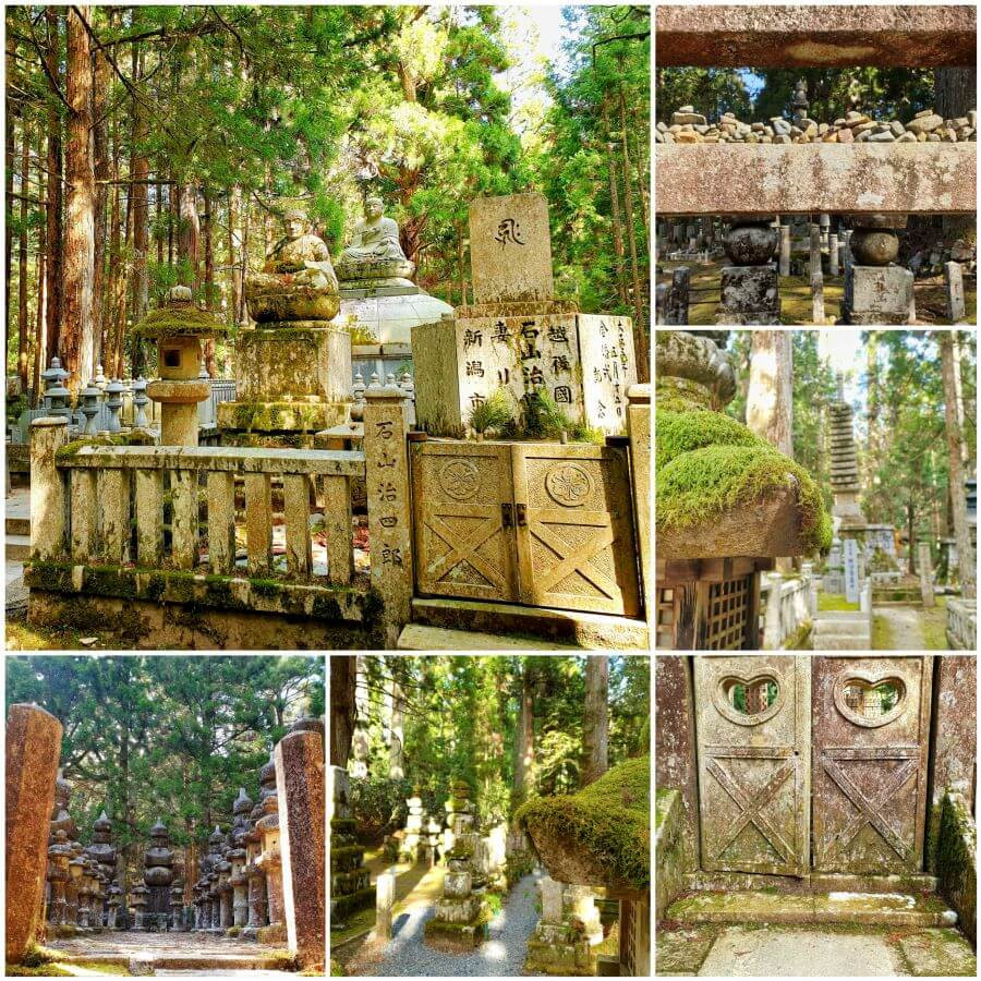 Photos of the Okunoin cemetery, showing tombstones and buddhas, in Koyasan Japan