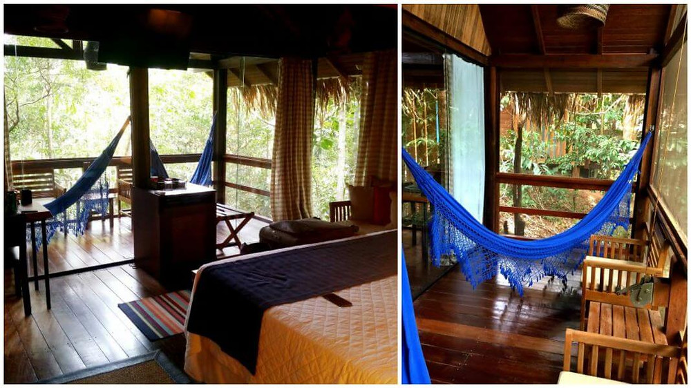 Bungalow room at Anavilhanas Amazon Jungle Lodge in Brazil, with hammocks on the patio