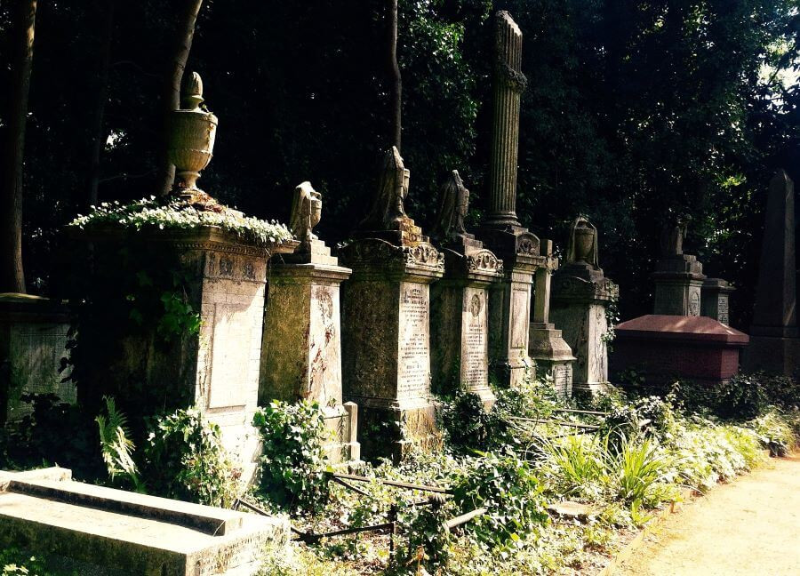 Gravestones at Highgate Cemetery in London