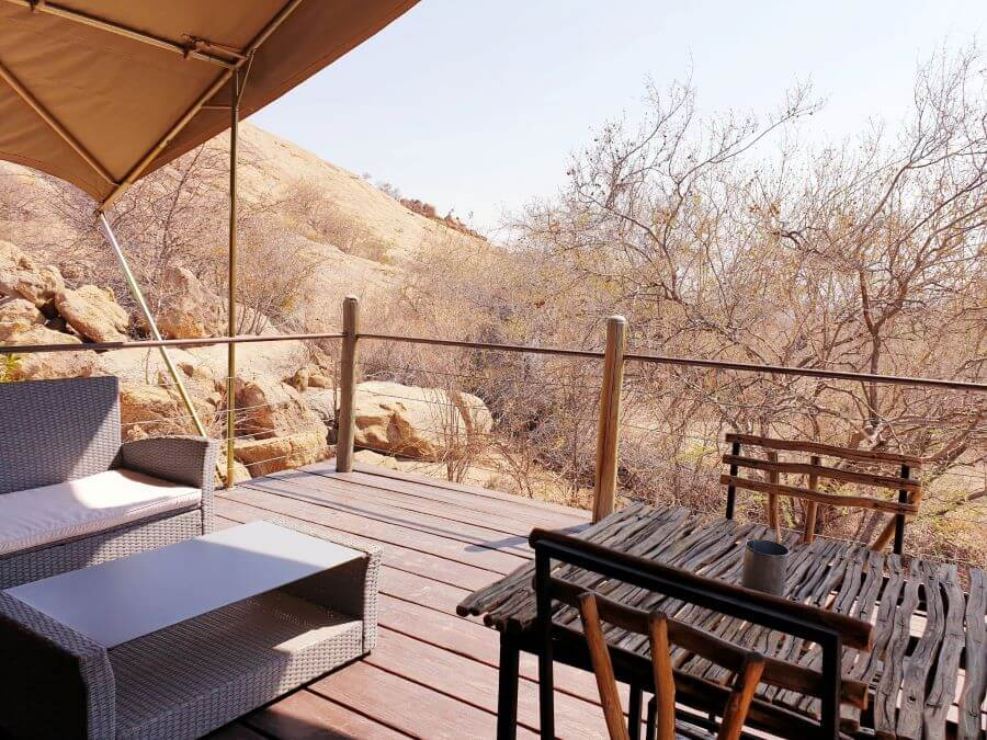 Private patio at Erongo Wilderness Lodge in Namibia