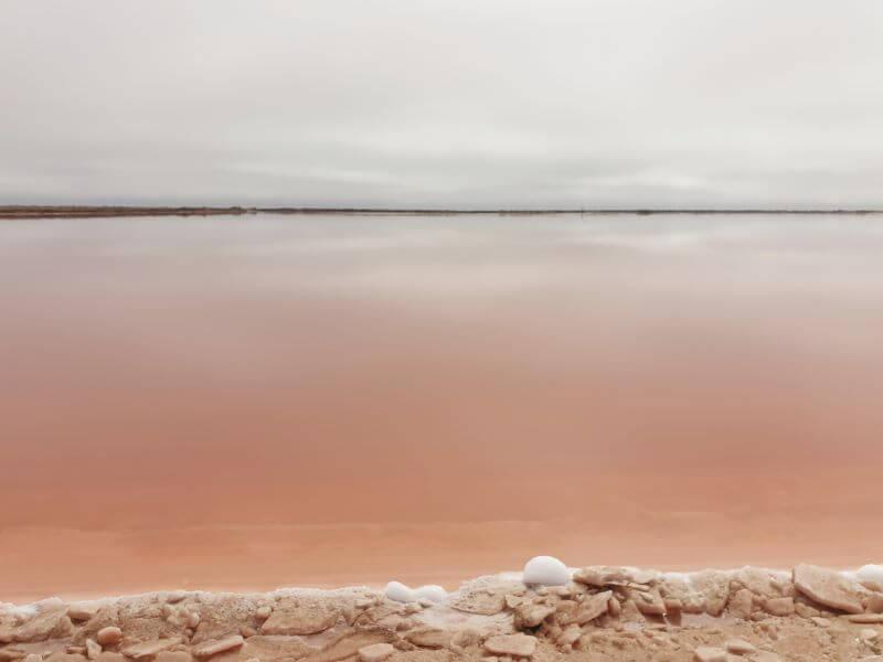 Pink salt pan lake in Walvis Bay