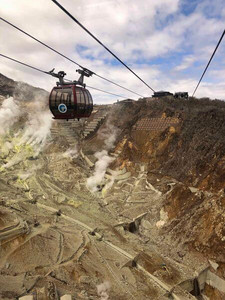 The Hakone Tozan Cable Car over the volcanic crater