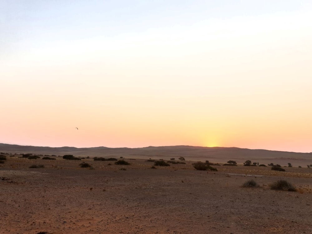 Sunset view at Desert Grace Lodge in Namibia