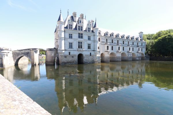 The Chateau de Chenonceau in France, built over a river