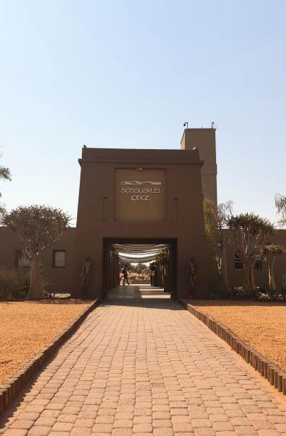 Entrance to Sossusvlei Lodge hotel, Sesriem, Namibia