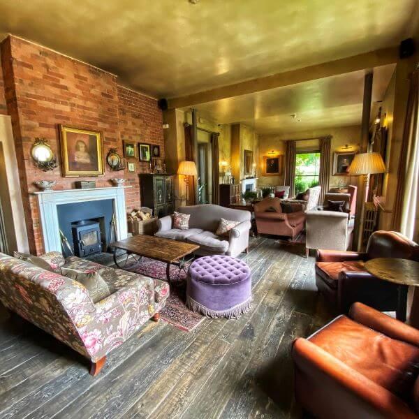 Lounge at the Pig Hotel in Brockenhurst, Hampshire, England