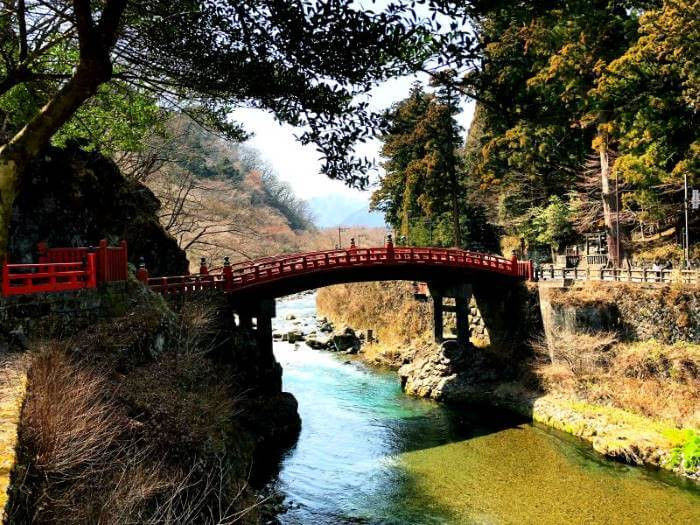 Red Shinkyo bridge in Nikko village