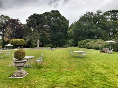 Gardens and lawns at luxury Alexander House & Utopia Spa in Sussex, UK