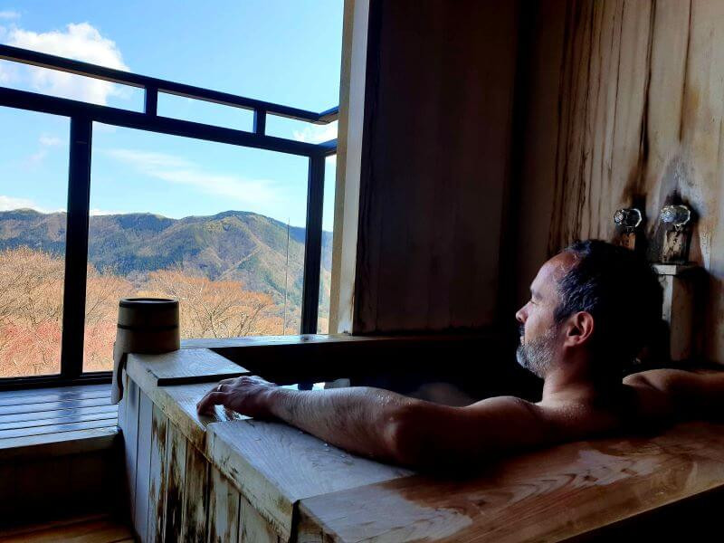 View from a private onsen in a Hakone ryokan