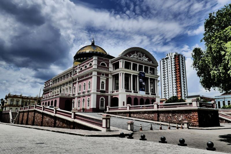 Beautiful architecture of the Amazon theatre during a tour of Manaus