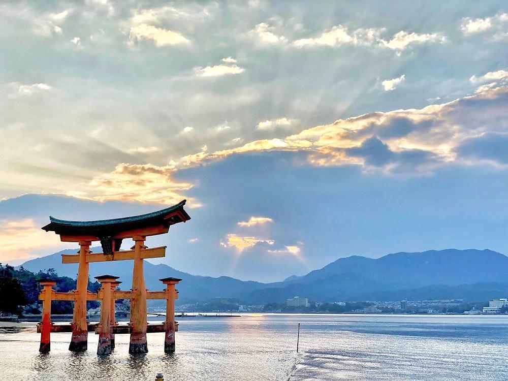 The famous floating Itsukushima red torii, on Miyajima island in Japan.