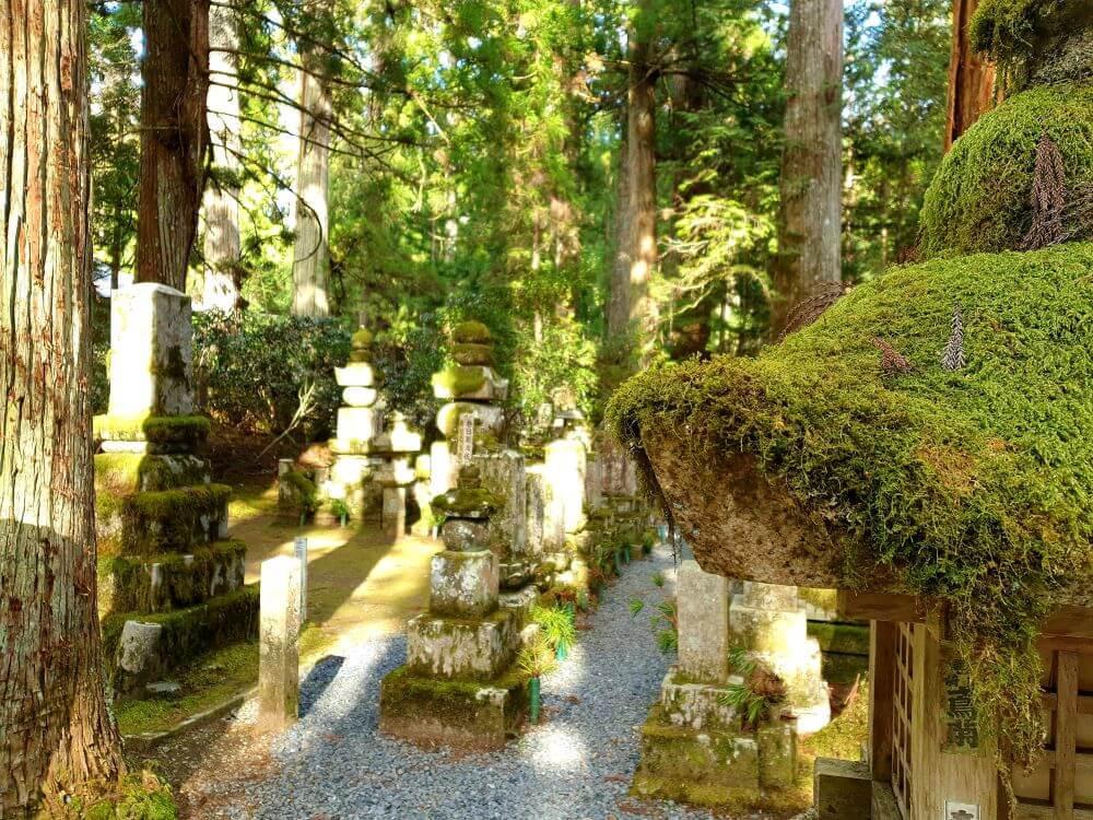 The Okunoin Buddhist cemetery on Koyasan in Japan