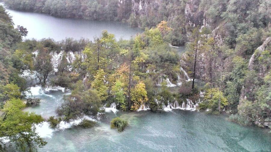 View of the magnificent waterfalls at Plitvice Lakes National Park