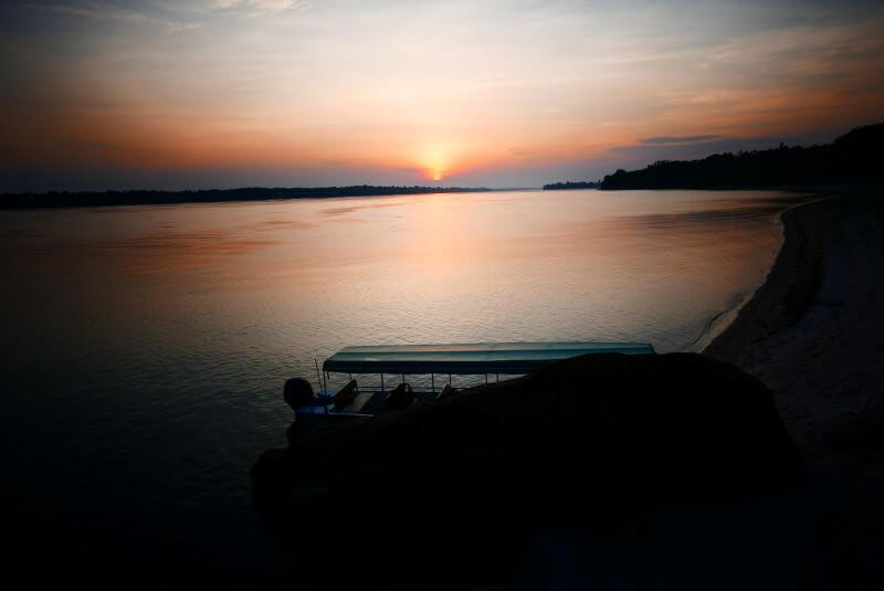Sunset tour on the Rio Negro river with Anavilhanas jungle hotel Brazil