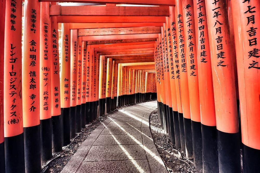 Red senbon torii gates line the path photogenically, at Kyoto's Fushimi Inari Taisha