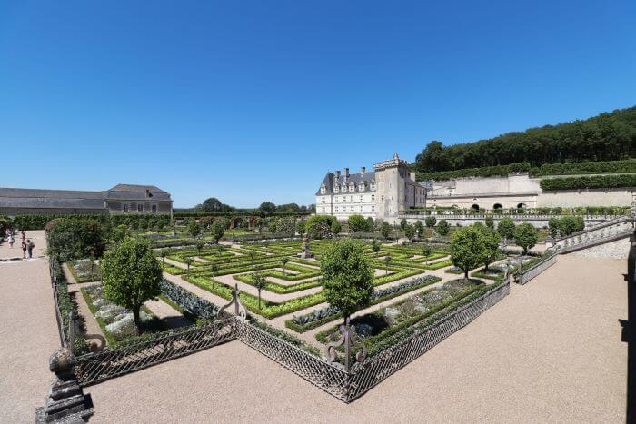 The gorgeous gardens and a view back towards the Chateau de Villandry in France