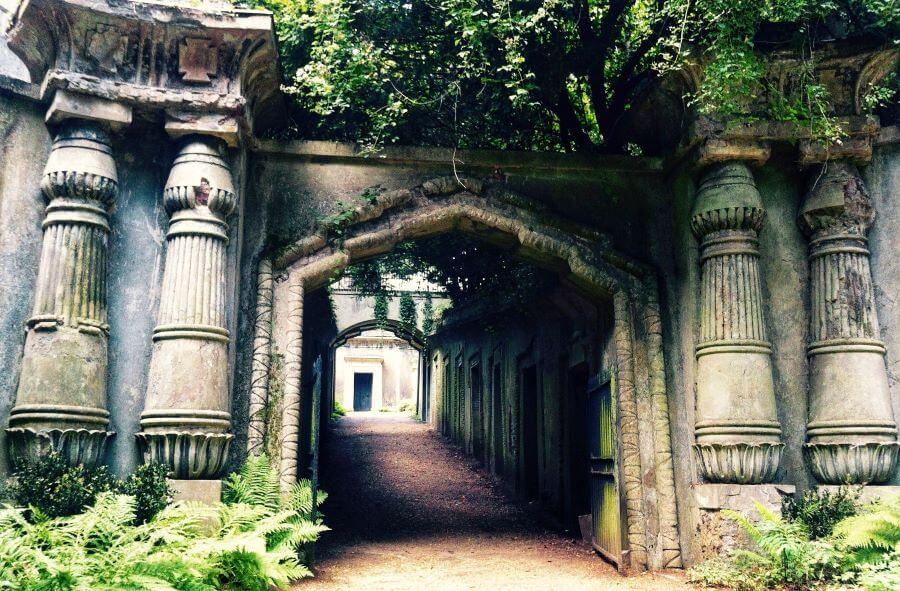 The Egyptian Avenue visit during a tour of Highgate West cemetery in London