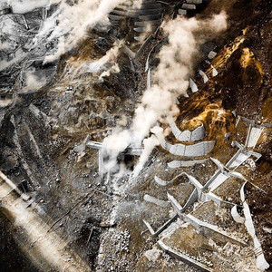 Sulfur vents of the Hakone active volcano crater in Japan
