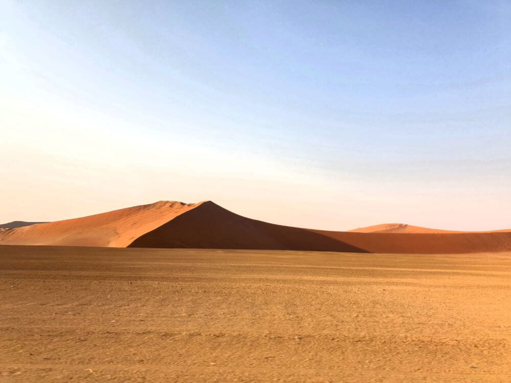 Early morning light on the dunes on the road to Sossusvlei in Namibia