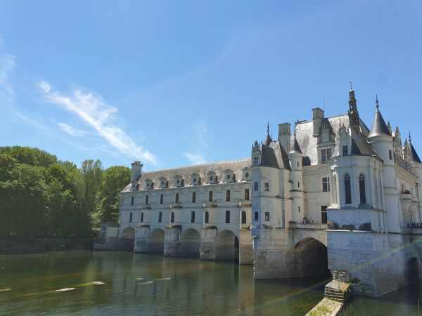 View over the river of the Chateau Chenonceau in France