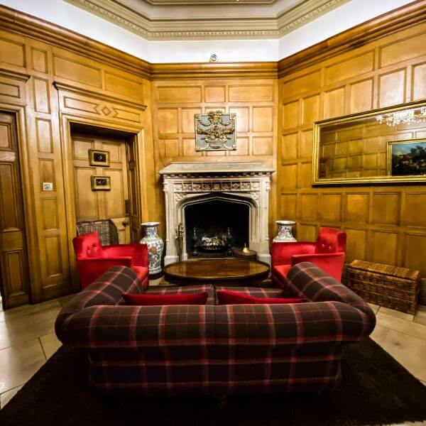 Lounge at 5-star Alexander House hotel in West Sussex, England