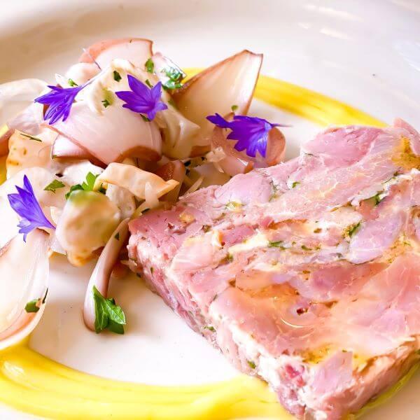 Ham Hock starter at The Pig hotel restaurant in Brockenhurst, New Forest