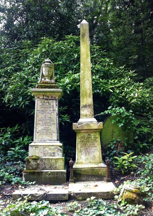 Obelisks and urns on gravestones during a Highgate West Cemetery tour