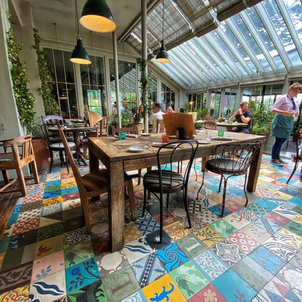 Gorgeous restaurant at the Pig Hotel in Brockenhurst, in Hampshire's New Forest
