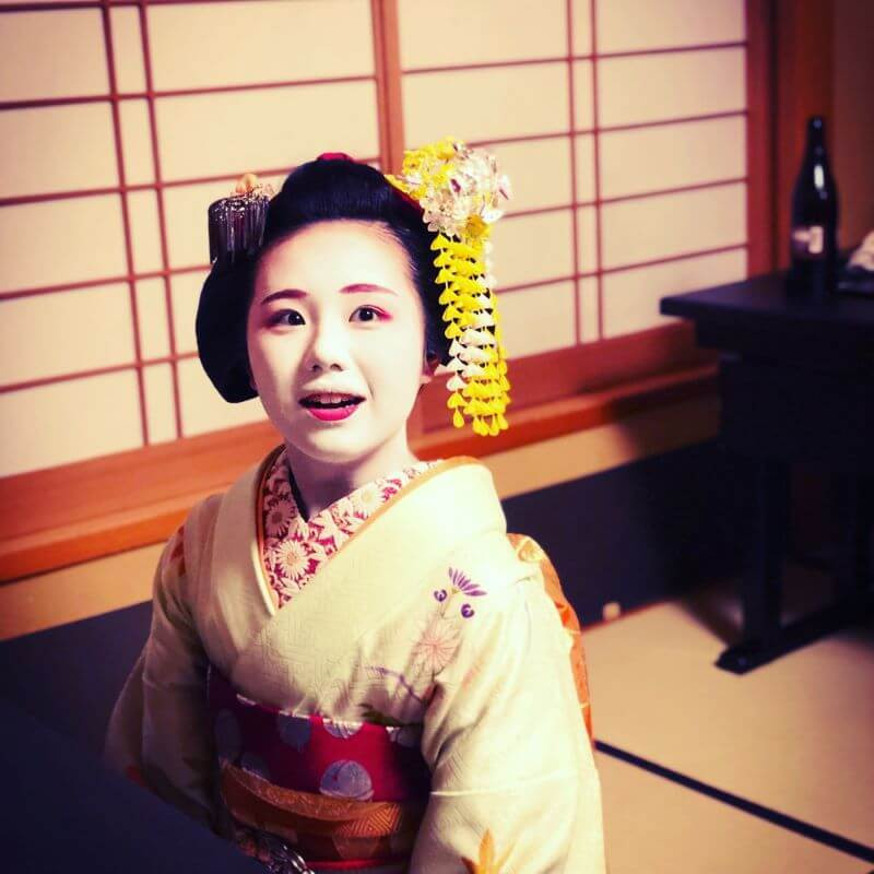 Beautiful young geisha at Gion Hatanaka in Kyoto