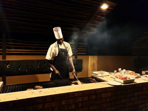 Barbeque dinner being prepared at Sossusvlei Lodge