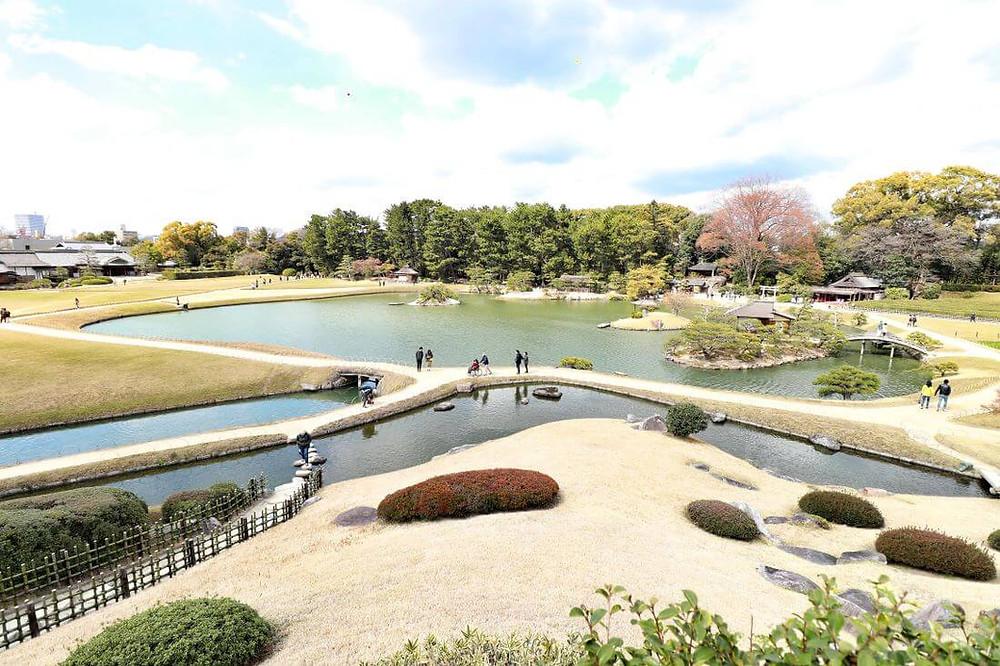 Amazing view from a hilltop of the Korakuen garden in Okayama, Japan