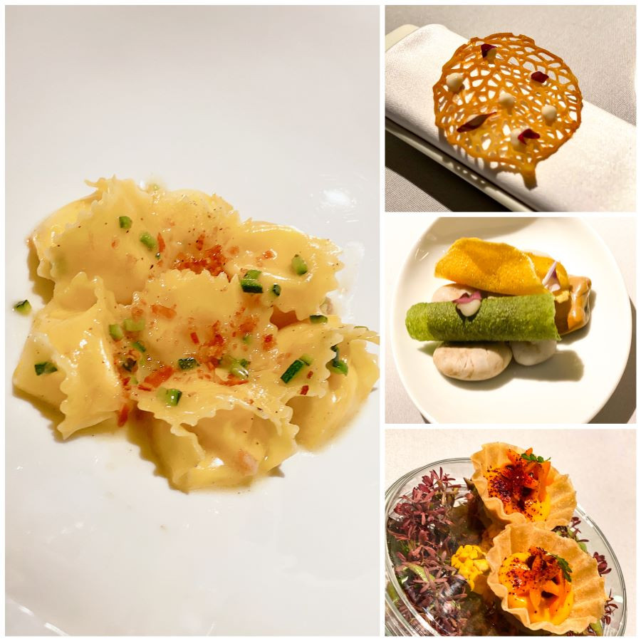 Fagottelli Carbonara and Amuses-Bouches at Heinz Beck's Michelin star restaurant in the Algarve