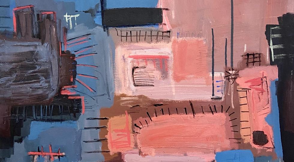 """""""Sunny City"""" - mixed media on canvas, 81"""