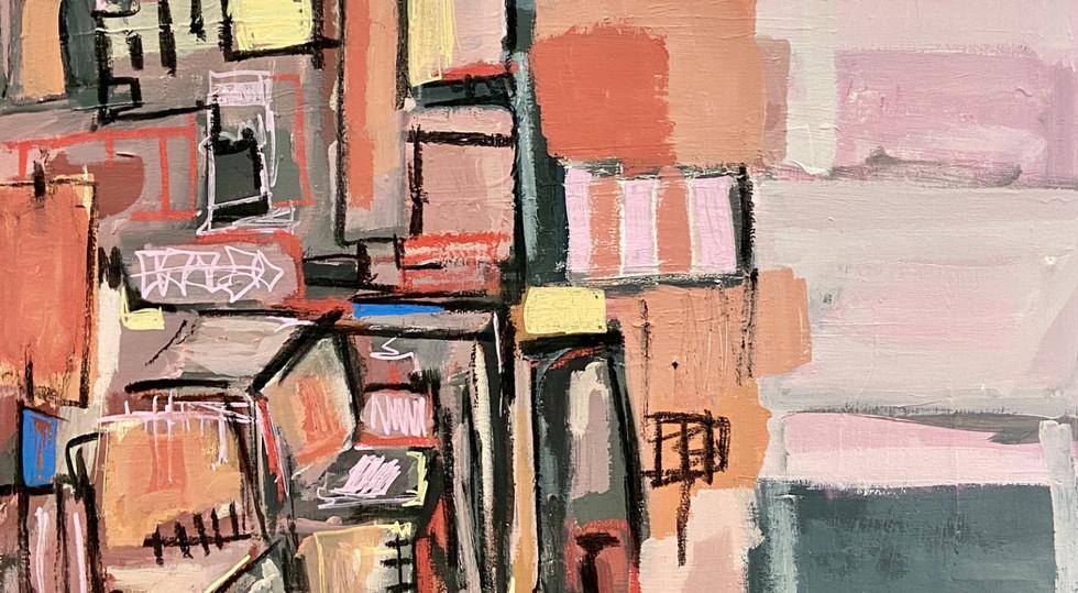 """12th Floor"" - mixed media on canvas, 60"