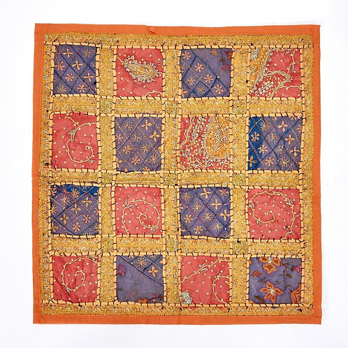 60x60cm Indian Patchwork Cushion - Orange