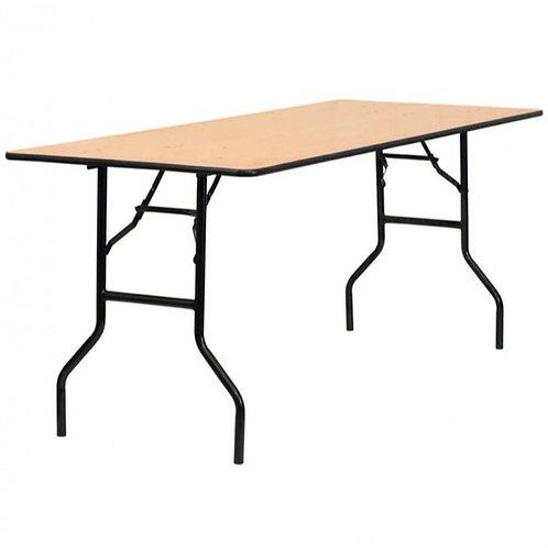 4x2.6 Foot Rectangular Wooden Trestle Table