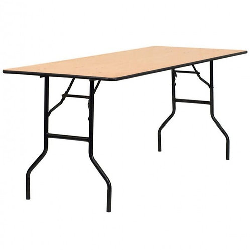 6x2.6 Foot Rectangular Wooden Trestle Table