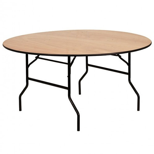 5 Foot Round Wooden Trestle Table