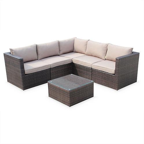 5 Person Rattan Corner Sofa Set