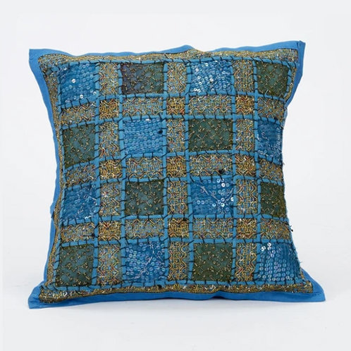 40x40cm Indian Patchwork Cushion - Turquoise