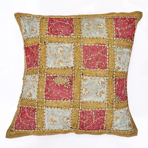 60x60cm Indian Patchwork Cushion - Golden