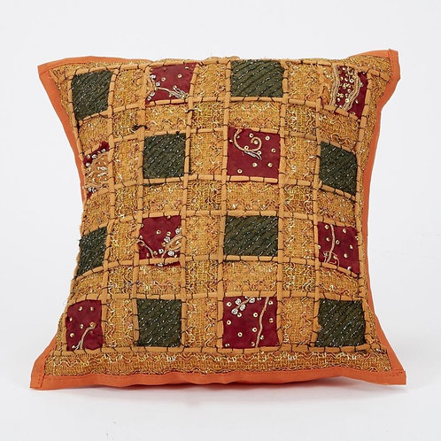40x40cm Indian Patchwork Cushion - Orange