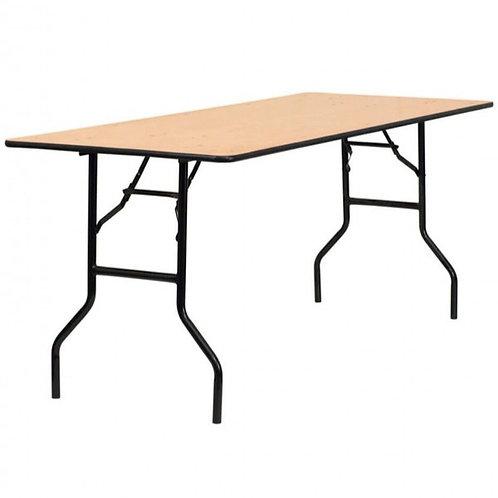 8x2.6 Foot Rectangular Wooden Trestle Table