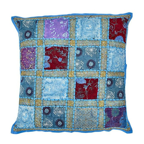 60x60cm Indian Patchwork Cushion - Turquoise