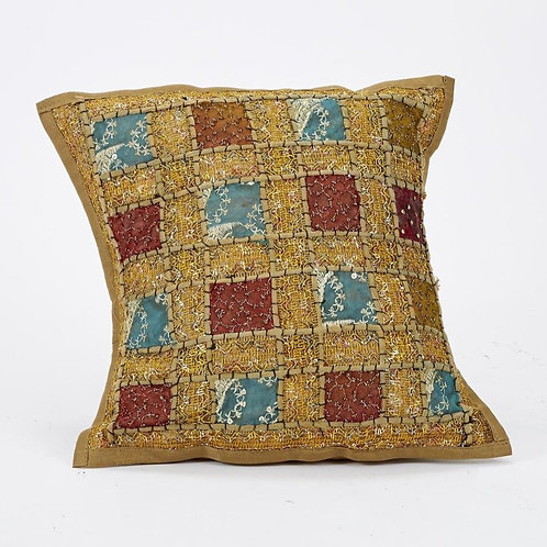 40x40cm Indian Patchwork Cushion - Golden