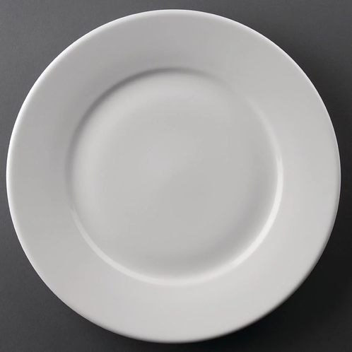 White Wide Rimmed Dinner Plate